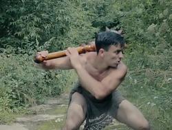 Sexy tarzan gay parody with barbarian boy in modern world