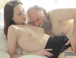 Cuddly college girl gets seduced and screwed by her senior schoolmaster