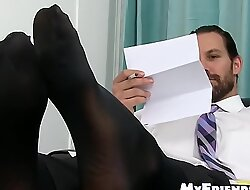 Handsome tall and bearded guy shows off his yummy feet