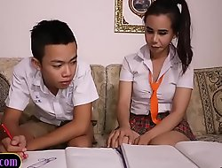 Asian lad sucks off ladyboy study partner schoolgirl