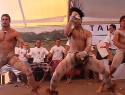 Nearly naked warrior dance
